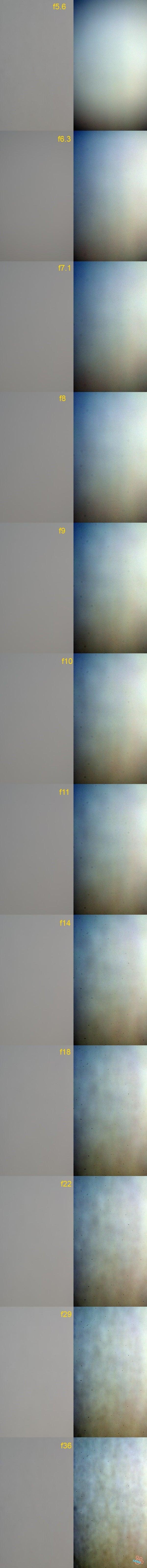 $(足跡の足跡)めんたる系-絞り値によるゴミの写り方