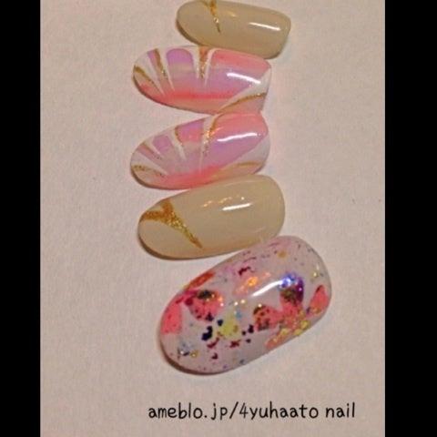 大阪 十三 塚本 プライベートサロン      haato for you beauty salon (旧4U haato nail)ホイルアートにウォーターマーブル風ネイル☆