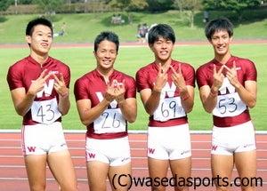 早スポオフィシャルブログ「ただいま取材中!」-日本記録に喜ぶ(左から)木村、竹下、愛敬、永沼
