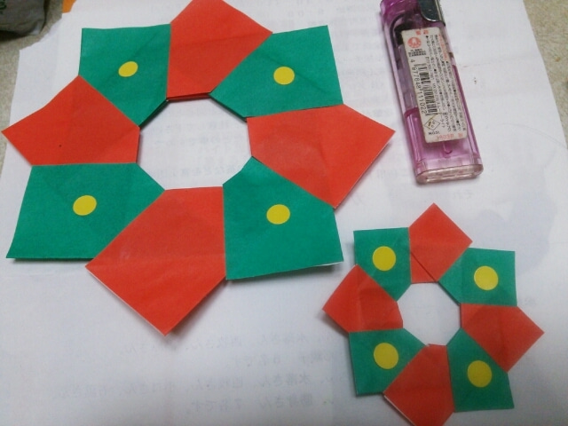 簡単 折り紙 折り紙リース作り方簡単 : hagifood.com