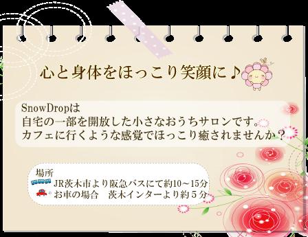 $【大阪府茨木市】☆レインドロップ☆アロマハンドファブ☆レイキ☆スクラップブッキング☆ヒーリングサロン ~~Snow Drop~~