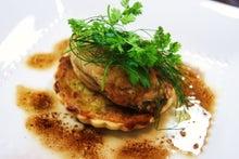札幌黄のタルト、牡蠣のムニエル添え