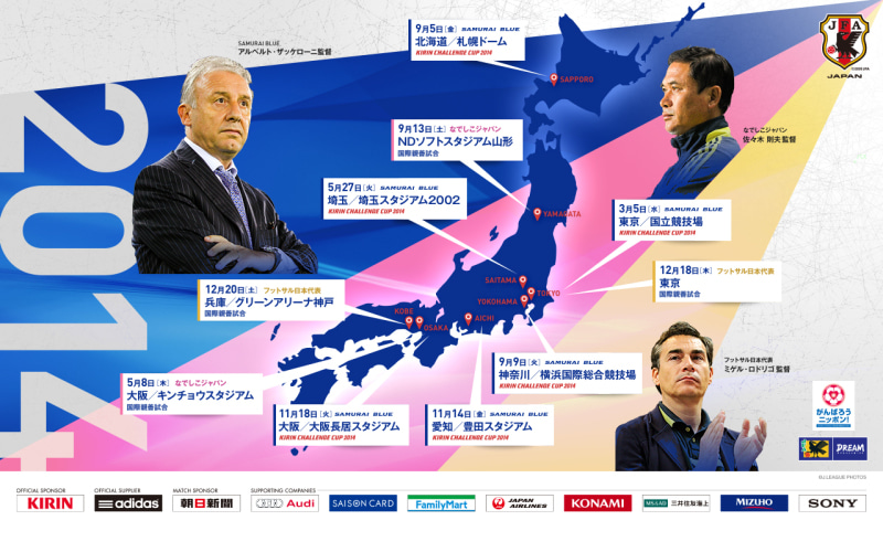 サッカー 日本代表 2014スケジュール 発表