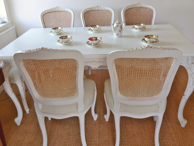French Shabby Chic Louis Style Dining Table And 6 Chairs