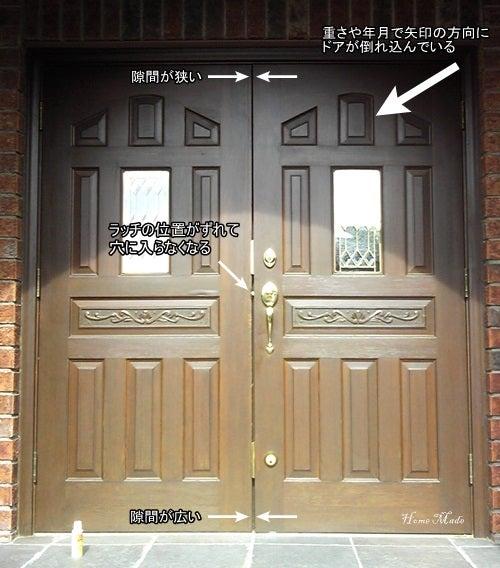 輸入玄関ドアの調整