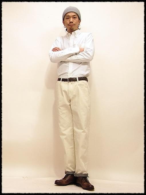 デスカバセレクト テーパードパンツ 9870円 オフホワ:Mサイズ・シューズ:パドローネ ウイングチップシューズ 30450円 Dブラウン:40サイズ・ベルト