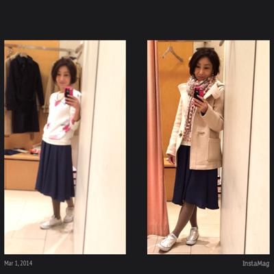 スカート+スニーカーコーデとブログリニューアル 2014年3月のコーディネート 01 30代40代OL・ワーキングマザーのきちんときれいな大人カジュアル〜なりたい私を