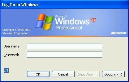 Windows XP ログオン画面