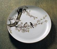 色絵桜とうそ図大皿