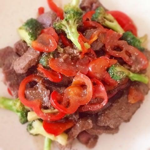 チアシードin中華風牛肉炒め