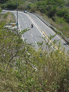 箱根旧街道から見る国道1号線