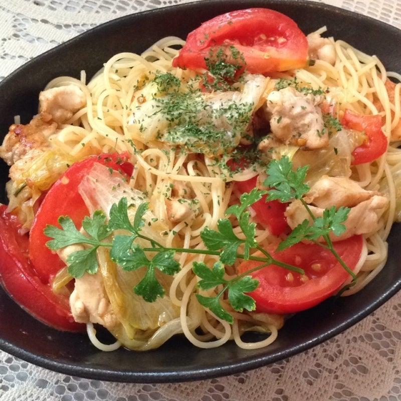 鶏肉とトマトのペペロンチーノ
