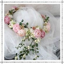 ピンク&グリーン 花冠