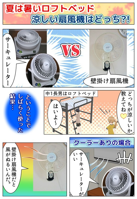 購入したサーキュレーターと今まで使っていた壁掛け扇風機、どちらが涼しいか実験している漫画