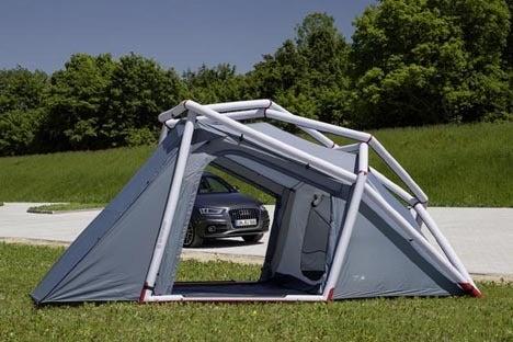 車のハッチに連結するテント!!3