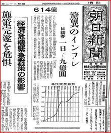 戦後直後の経済破綻の新聞記事