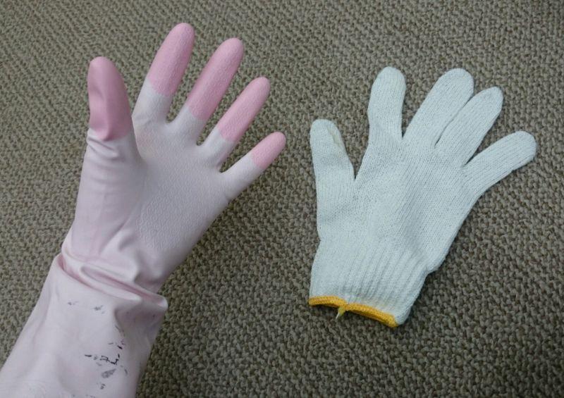 ゴム手袋と軍手