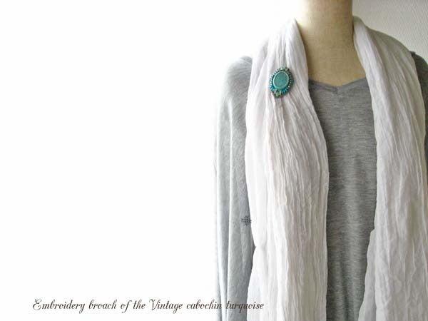 ヴィンテージターコイズカボッション刺繍ブローチ