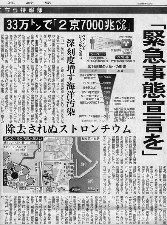 緊急事態宣言を汚染水33万トンで2京7000兆ベクレル