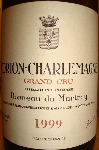 Corton Charlemagne Bonneau du Martray 1999