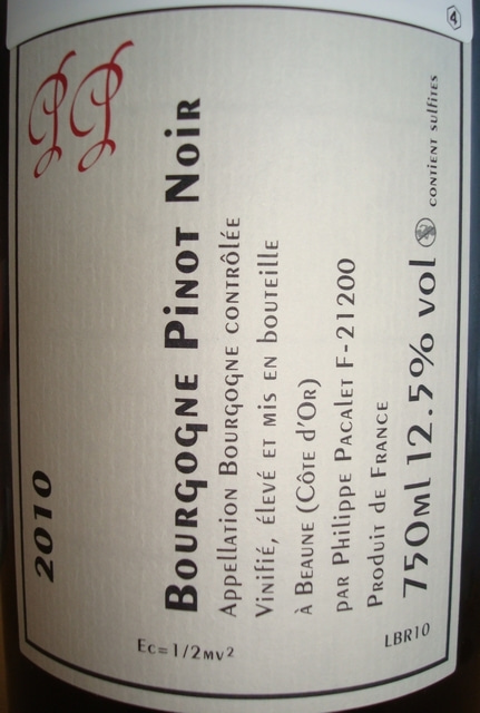 Bourgogne Pinot Noir Philippe Pacalet 2010 No2