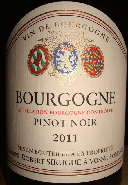 Bourgogne Pinot Noir Robert Sirugue 2011