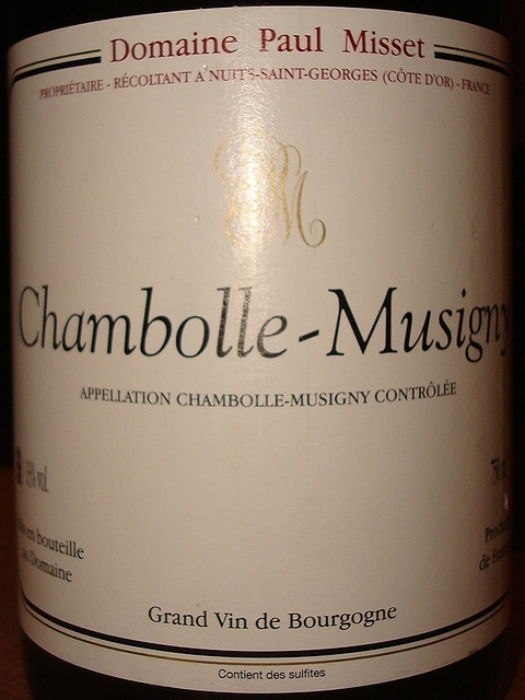 Chambolle Musigny Domaine Paul Misset 1995