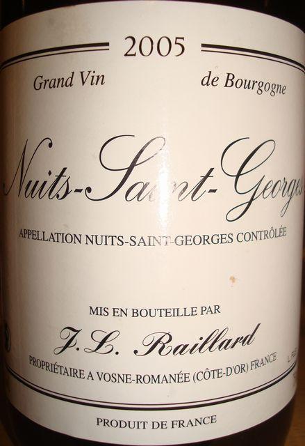 Nuits Saint Georges TL Raillard 2005