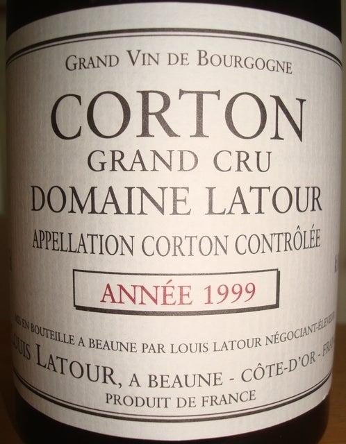 Corton Grand Cru Domaine Latour 1999