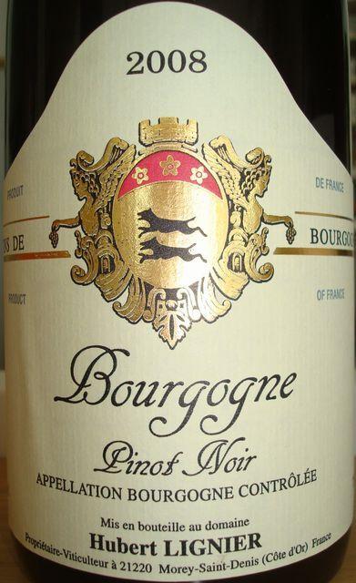 Bourgogne Pinot Noir Hubert Lignier 2008
