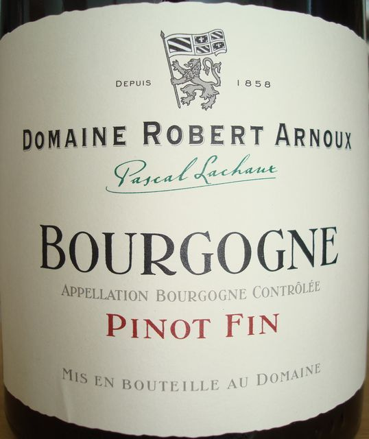 Bourgogne Pinot Fin Domaine Robert Arnoux 2007