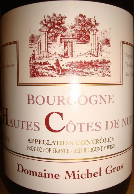 Bourgogne Hautes Cote de Nuits Michel Gros 2008