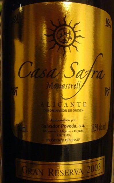 Casa Safra Monastrell Alicante Gran Reserva 2003