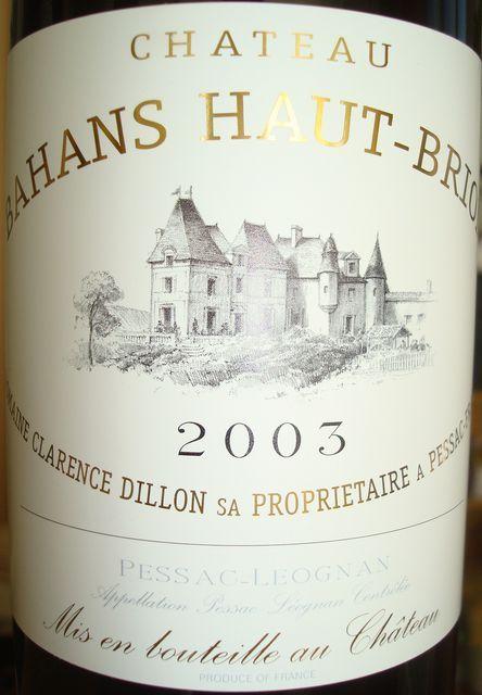 Chateau Bahans Haut Brion 2003