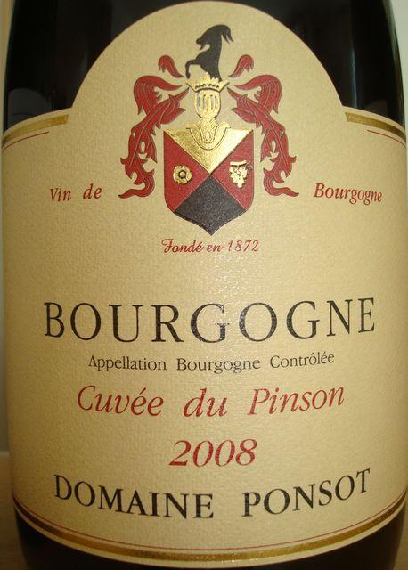 Bourgogne cuvee du Pinson Ponsot 2008
