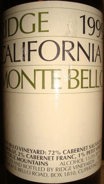 Ridge California Monte Bello 1999