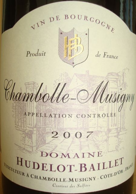 Chambolle Musigny Domaine Hudelot Baillet 2007
