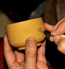 黄瀬戸酒盃彫り