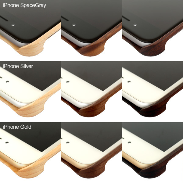 「木製ケース3樹種」×「iPhone6/6Plus3色」