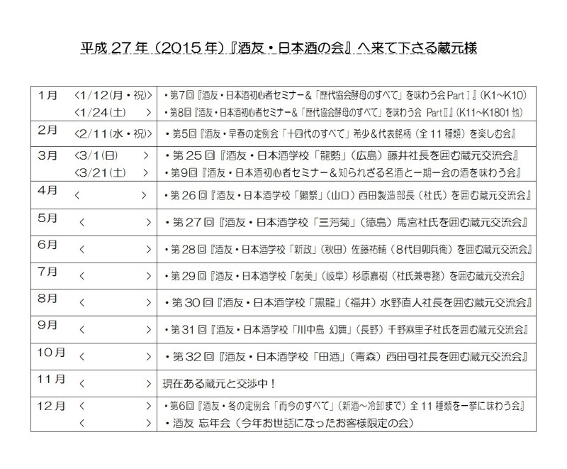 2015年度 酒友日本酒の会予定表