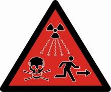 被曝警告の標識