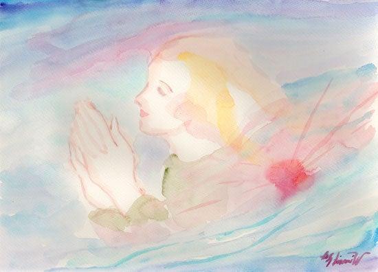 祈りの朝に 水彩画制作過程