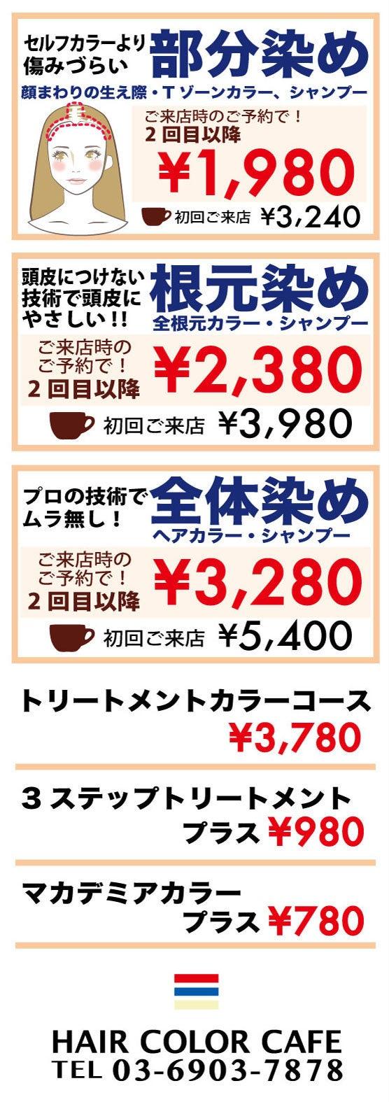 ヘアカラーカフェ料金表