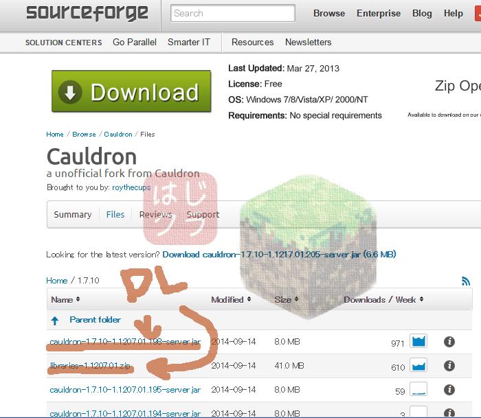 Cauldron鯖導入DLページ