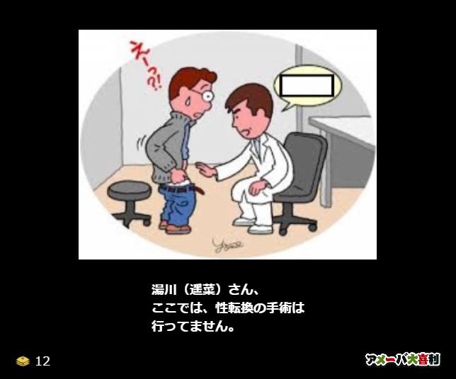 湯川(遥菜)さん、<br />ここでは、性転換の手術は<br />行ってません。