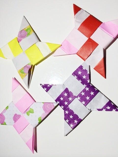 ハート 折り紙:折り紙で手裏剣-ameblo.jp