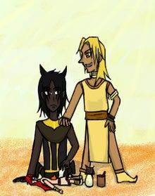 アヌビス(左)とホルス(右)