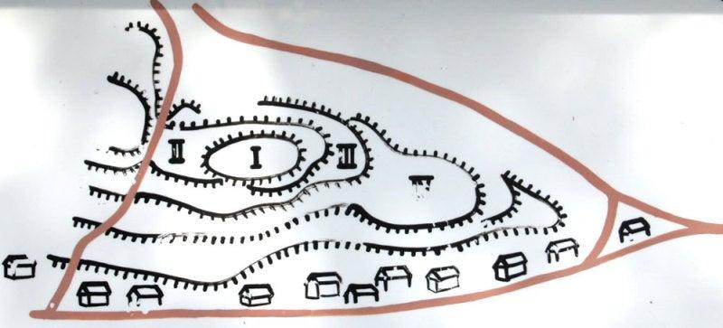矢嶋城/①曲輪の配置図