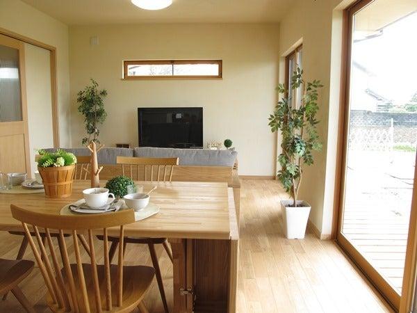 オーク材の床にタモ材の家具で合わせたLD空間