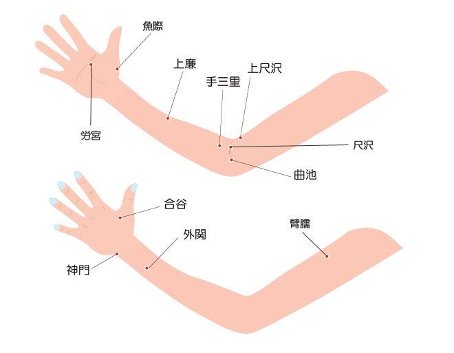 腕と手のツボ